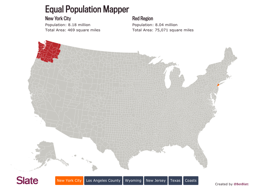 Map Of The Week Equal Population Mapper The Urbanist - Map of us with equal population