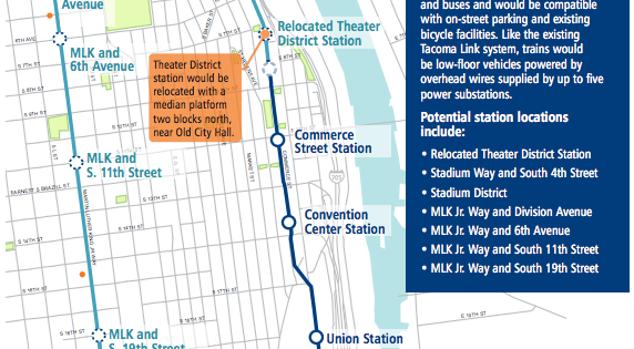 Tacoma Link Extension alignment and stations. (Sound Transit)