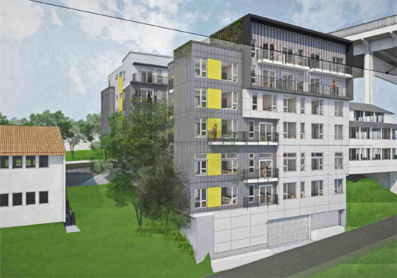 A 56-unit apartment building is under construction just east of the Fremont Branch Library. (B9 Architects)