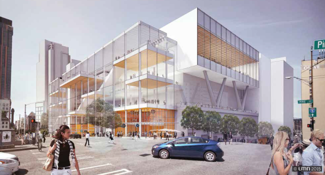 The preferred WSCC expansion design hangs over the freeway at the west corner of Pine Street and Boren Avenue. At street level this corner of the building will have small retail spaces and building entries. The building's exterior will also have much greater transparency than the original WSCC facility. (LMN Architects)