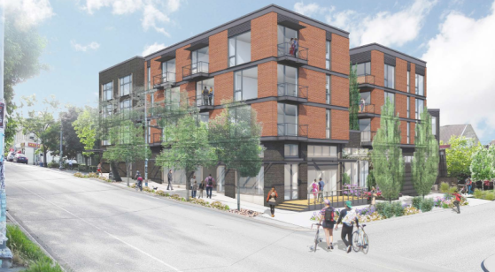 The 45th & Woodlawn apartments will be across the street from Molly Moon's and fill in a gap in the streetscape. (B9 Architects)