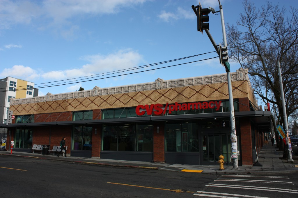CVS took an old building and rammed itself its old brick facade to gain design board approval.