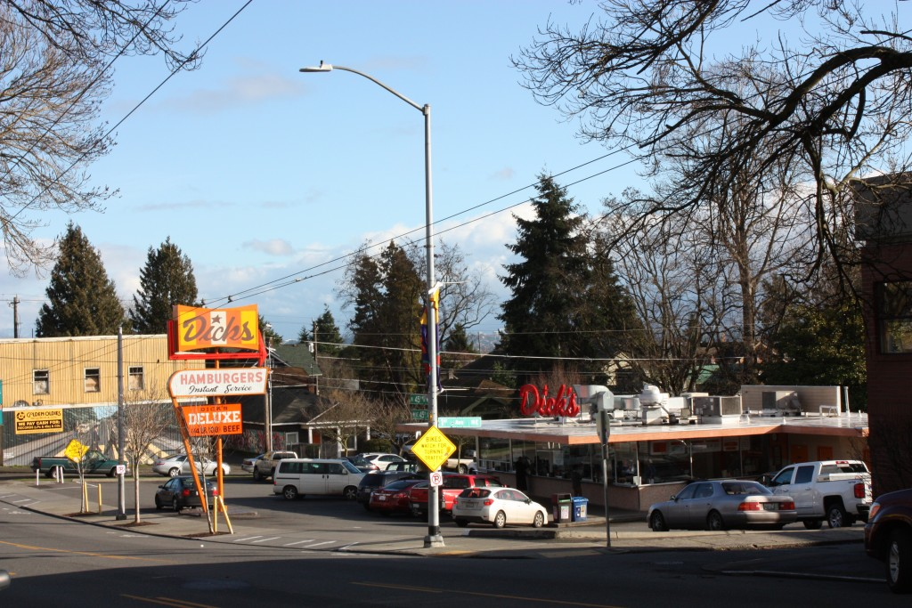 Redeveloping the original Dick's Burger location at 1st Ave NE would face would face an uphill battle.
