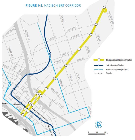 The proposed Madison BRT corridor.