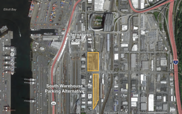 The street vacation for Occidental Avenue S would stretch from S Massachusetts Avenue to S Holgate Avenue.