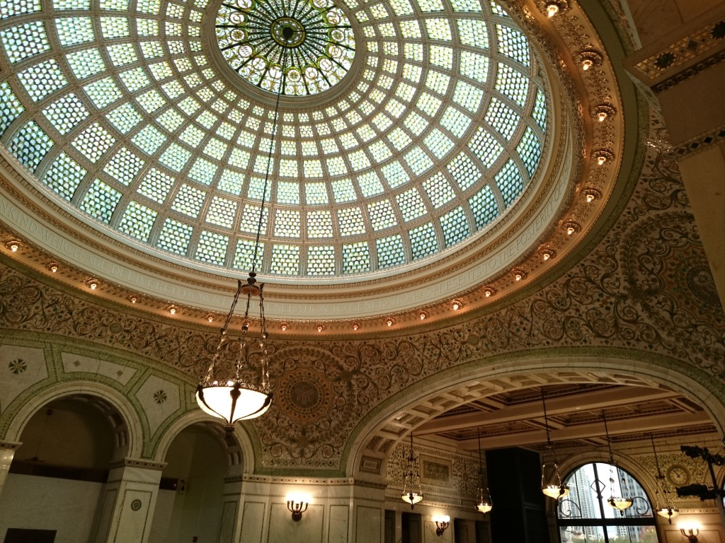 Glass dome of the Chicago Cultural Center. Photo by Sarah Oberklaid.
