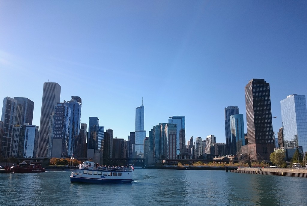 A view of Chicago's skyline from the Chicago Architecture Foundation's River Cruise. Photo by Sarah Oberklaid.