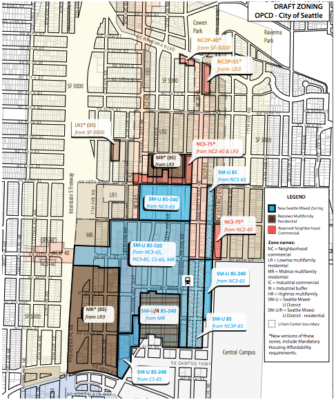 Draft zoning proposal for the University District. (City of Seattle)