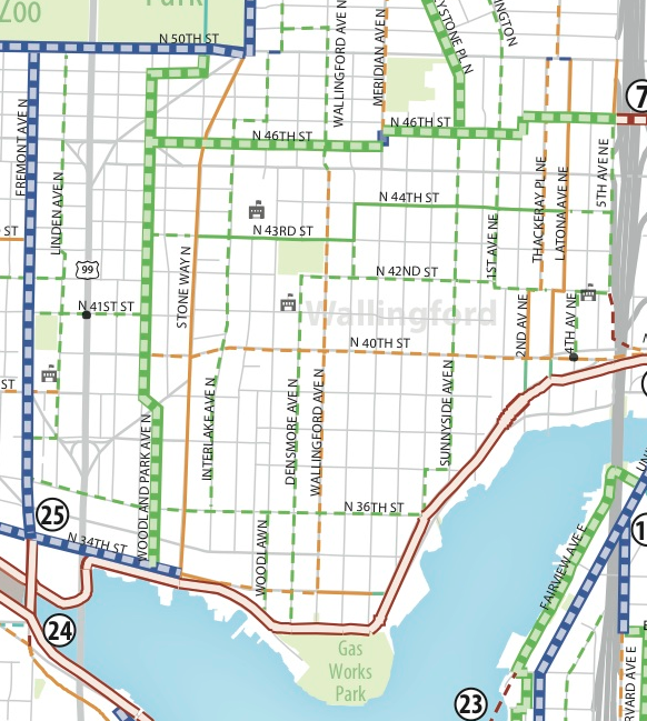 The Bike Master Plan draft envisions Stone Way as the primary thoroughfare.
