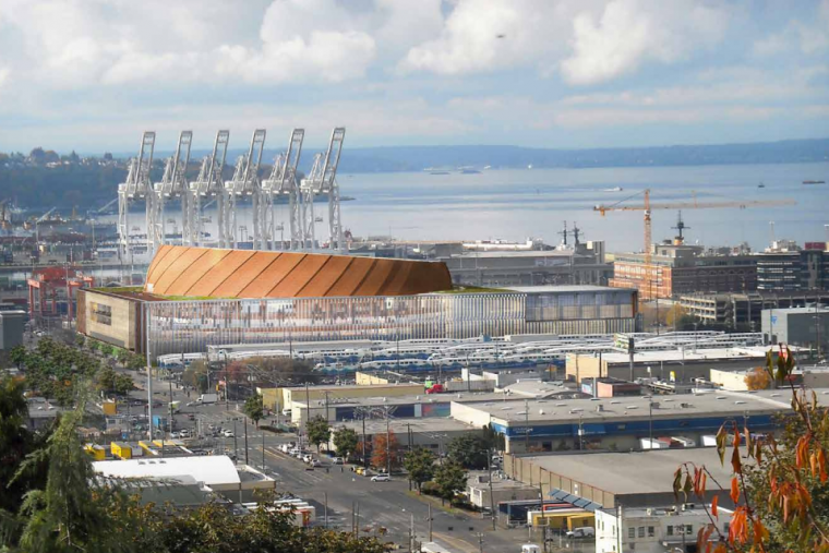This rendering lends perspective to the close proximity of the proposed arena to Port of Seattle operations.