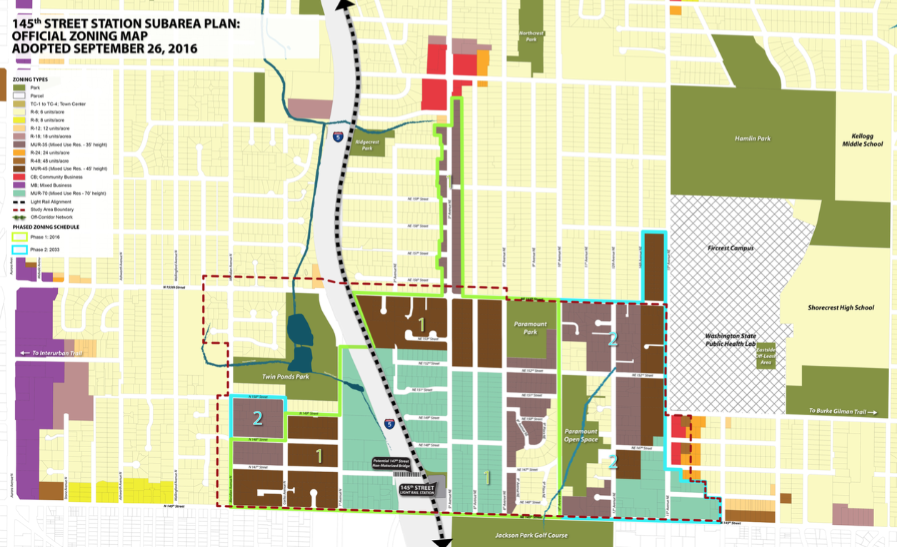 The approved zoning map for the 145th Street Station Subarea. (City of Shoreline)