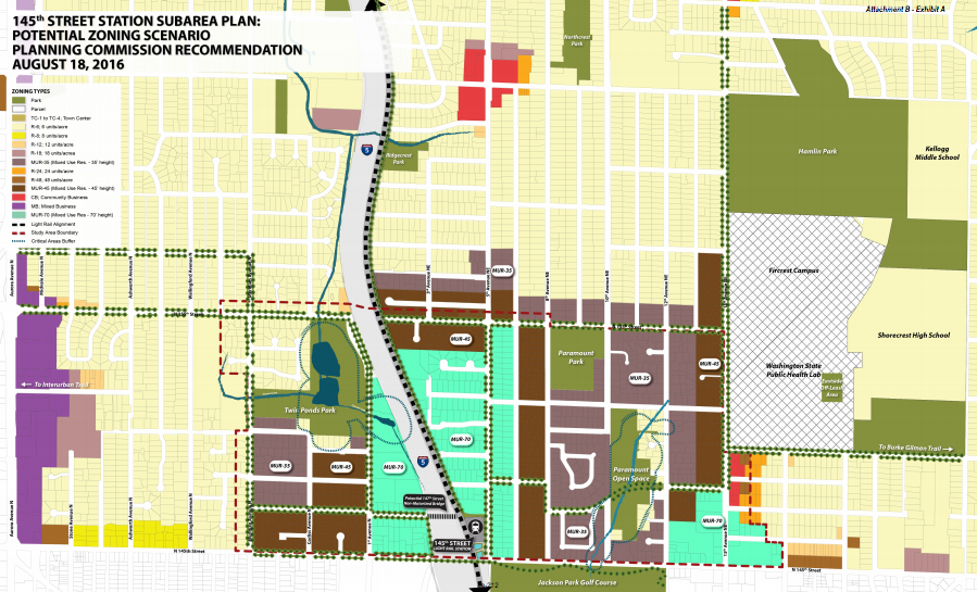 Recommended zoning map by the Shoreline Planning Commission for the 145th Street Subarea. (City of Shoreline)