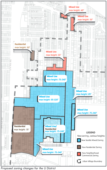 U District zoning will see some significant increases in capacity in the center while tapers off to the edges of the urban village.
