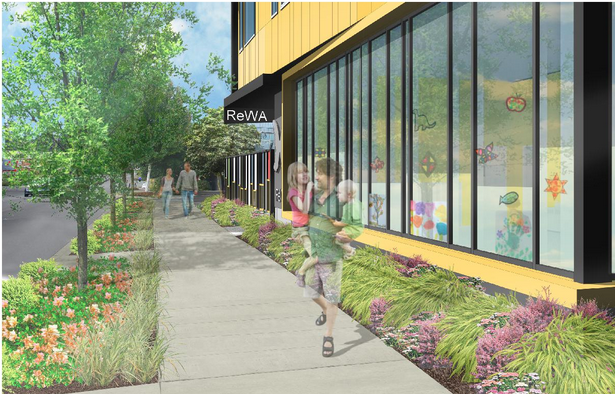 The improved sidewalk include extensive landscaping. (LIHI)