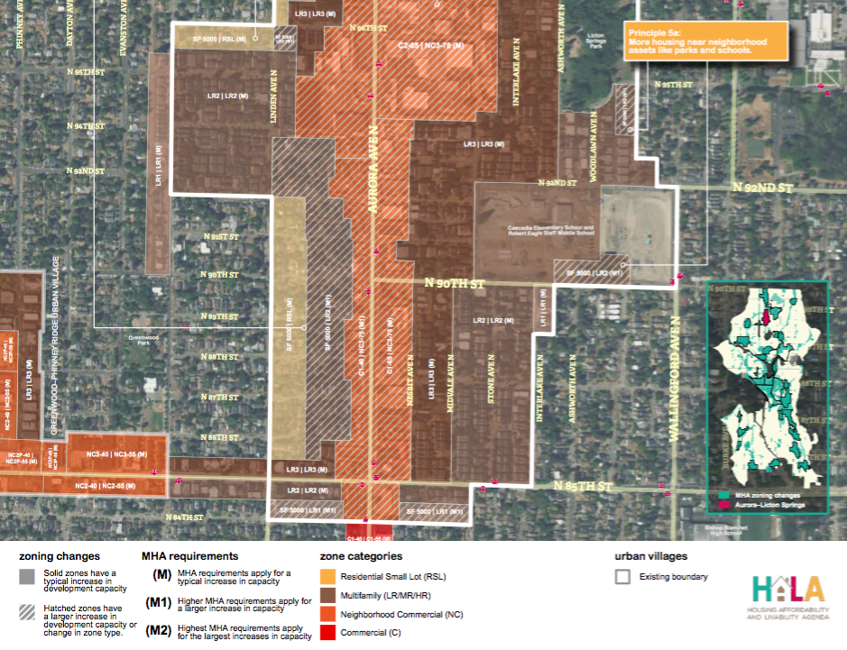 A portion of the draft MHA rezones the Aurora-Licton Springs Residential Urban Village. (City of Seattle)
