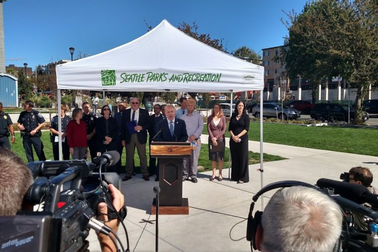 Mayor Murray at U Heights Center to announced U District Growth Plan on September 12. (Photo by Doug Trumm)