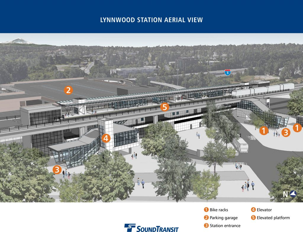 Lynnwood will have a large station to handle the traffic expected at ST2's northern terminus. (Sound Transit)