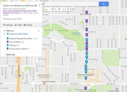 Three years of collision data on 25th Ave NE. (City of Seattle / Google)