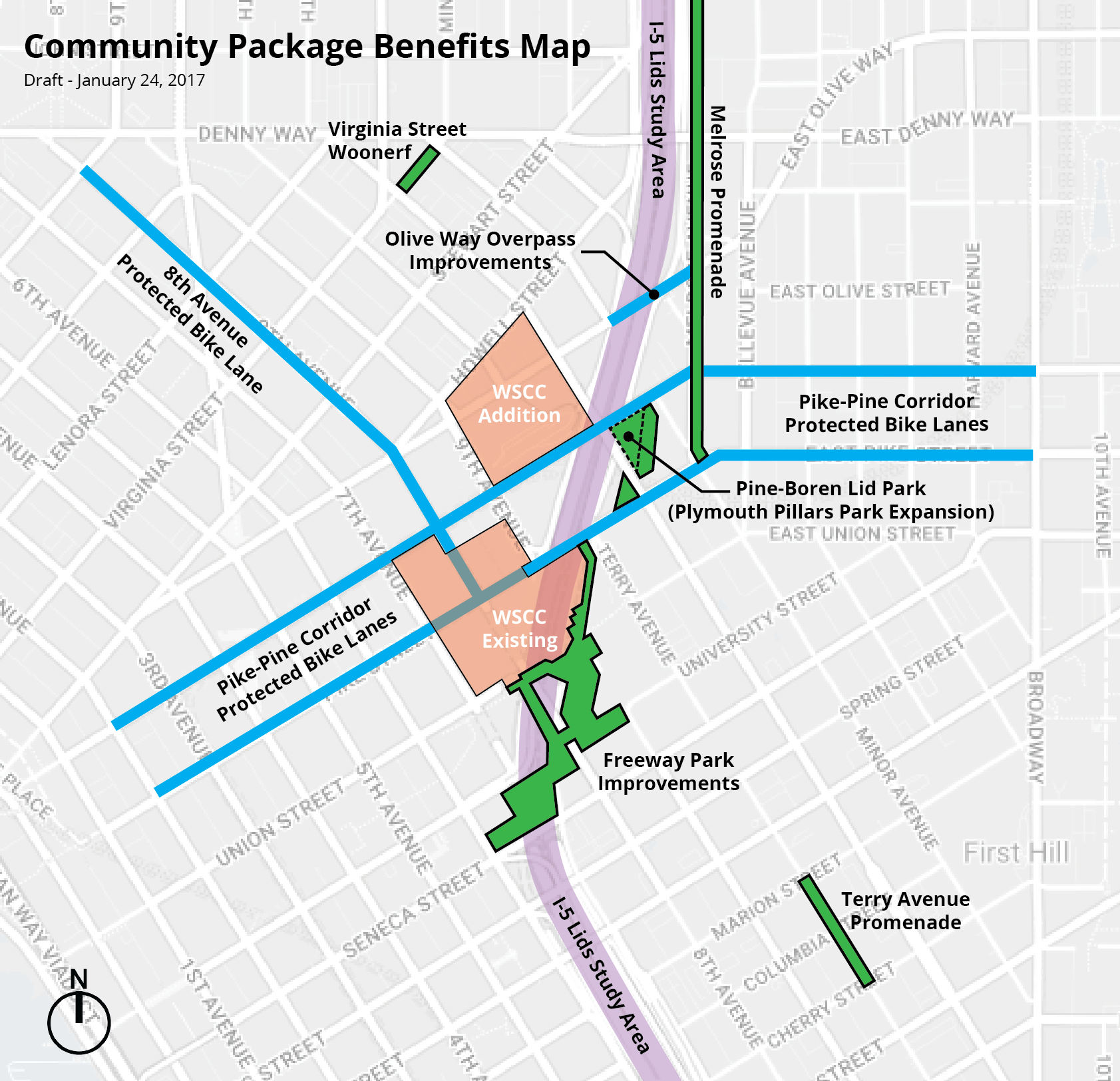 """The Community Package Benefits Map. Affordable housing within one mile, additional potential I-5 lid study areas, and the I-5 overpasses """"kit of parts"""" are not shown."""