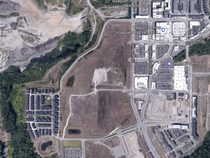 The large open area west of 9th Ave NE is the proposed development site. (Google Maps)