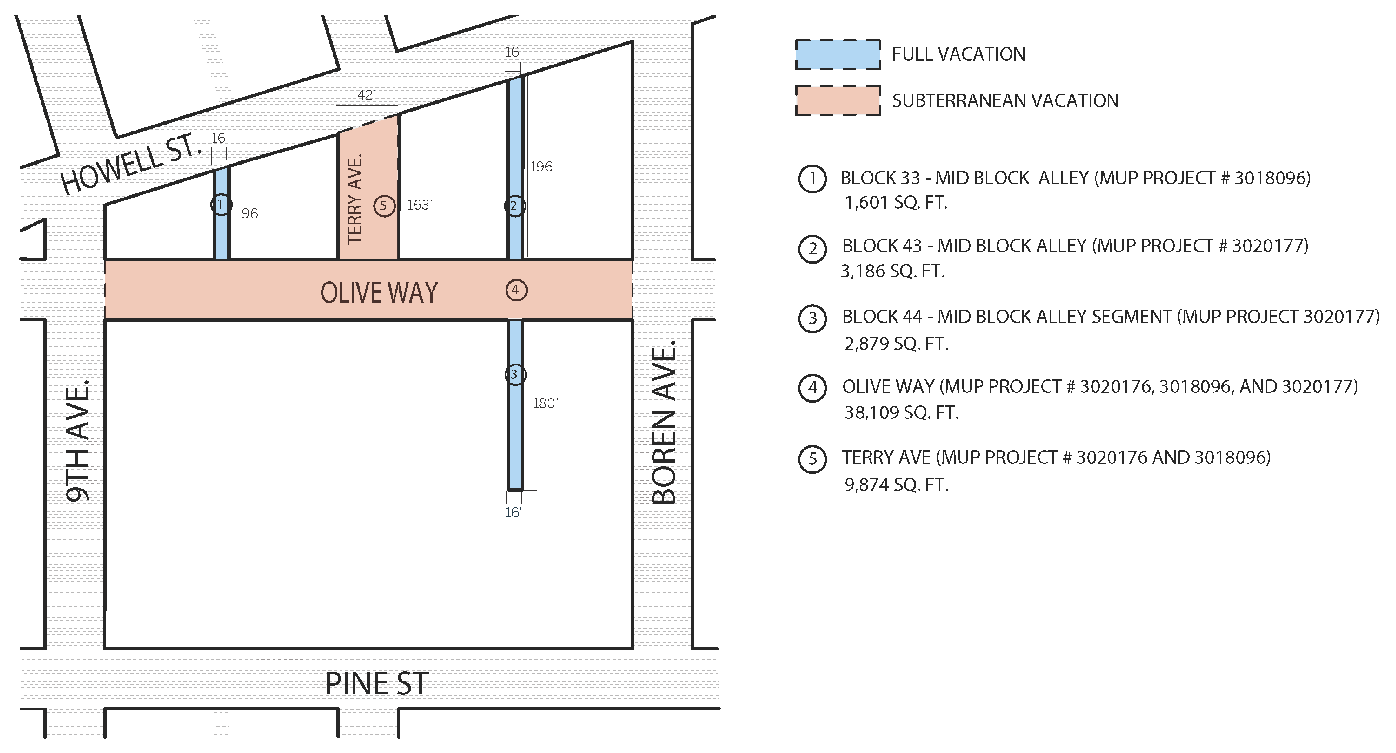 The location, type, and size of the WSCC's proposed street vacations. (LMN Architects)