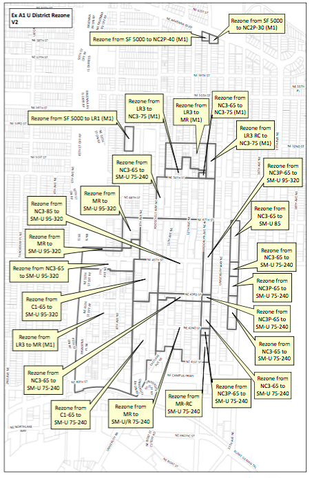 Proposed rezones for the University District. (City of Seattle)