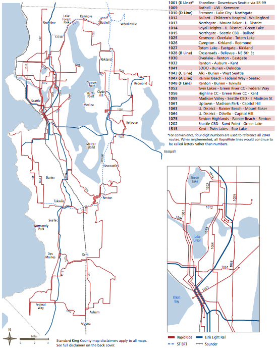 King County's long-range plan for RapidRide service. (King County)