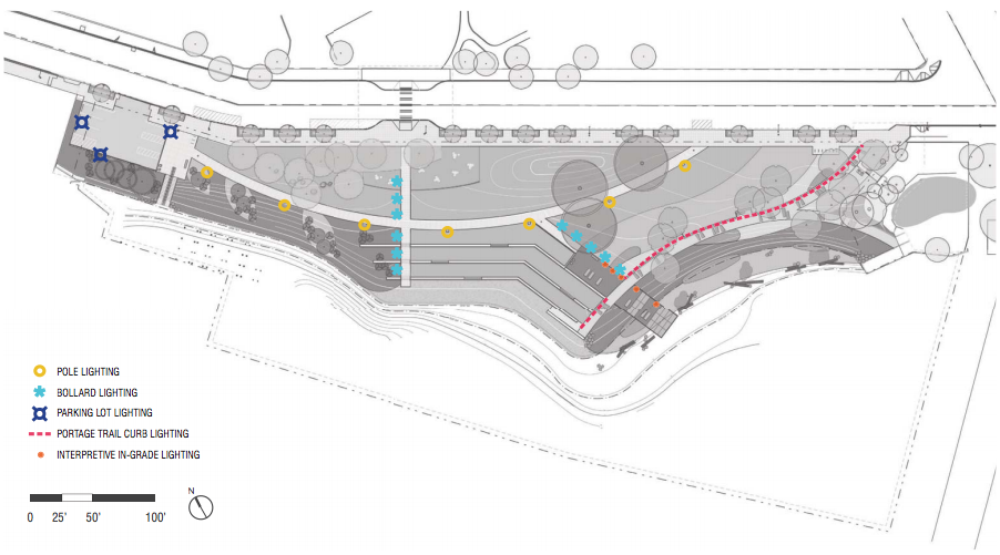 Lighting plan for the site. (Walker/Macy / City of Seattle)