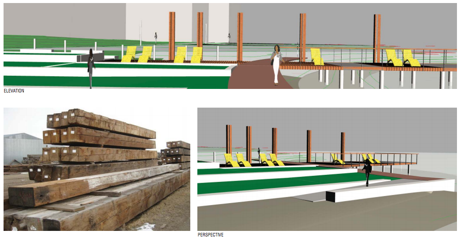 Concept for the five pier posts. (Walker/Macy / City of Seattle)