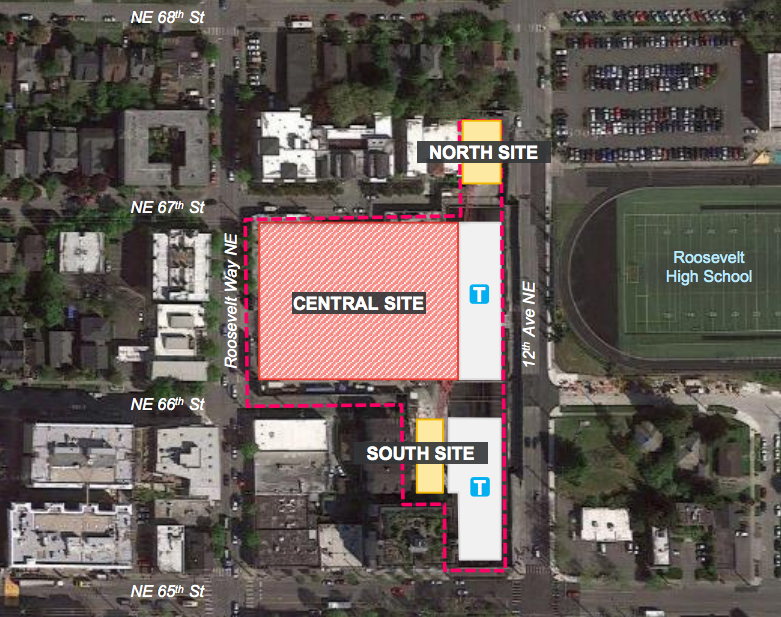 Three sites are planned for TOD in Roosevelt. (Sound Transit)