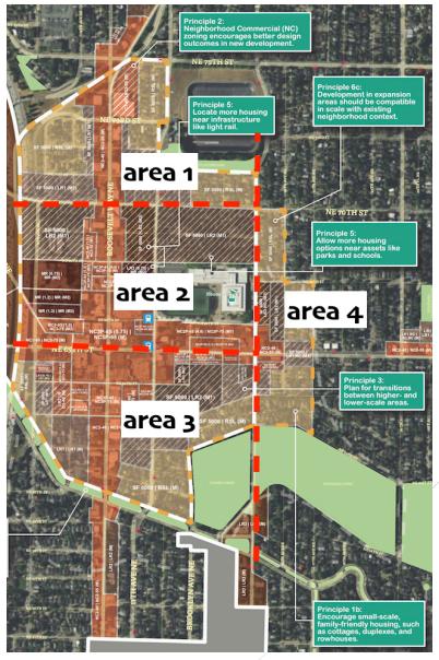 Breakdown of the four focus areas. (Roosevelt Neighborhood Association / City of Seattle)