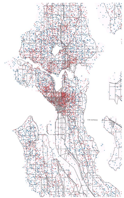 Red dots represent 25 renter-occupied units, blue dots represent 25 homeowner-occupied units. (City of Seattle)