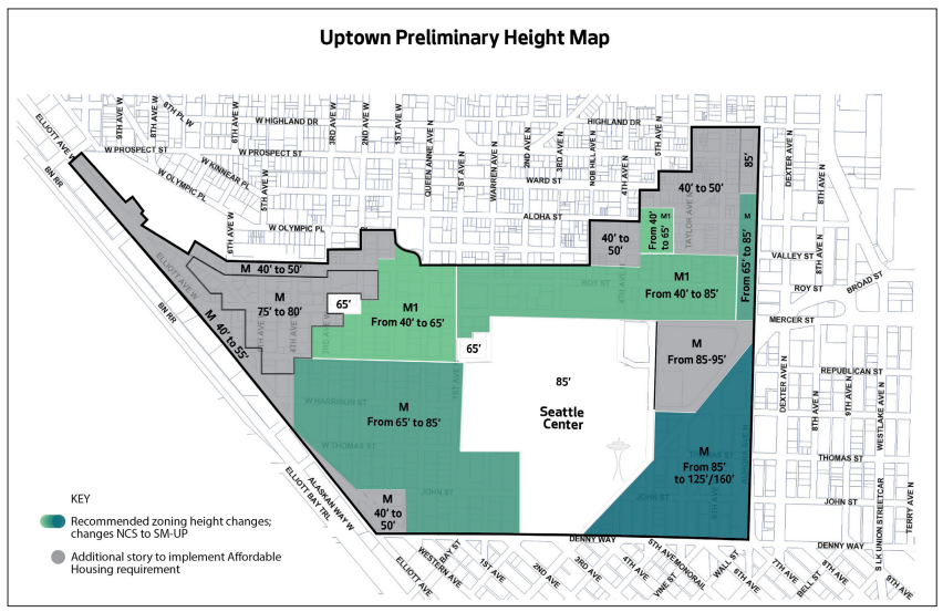 Preliminary heights and capacity changes for affordable housing requirements in Uptown. (City of Seattle)