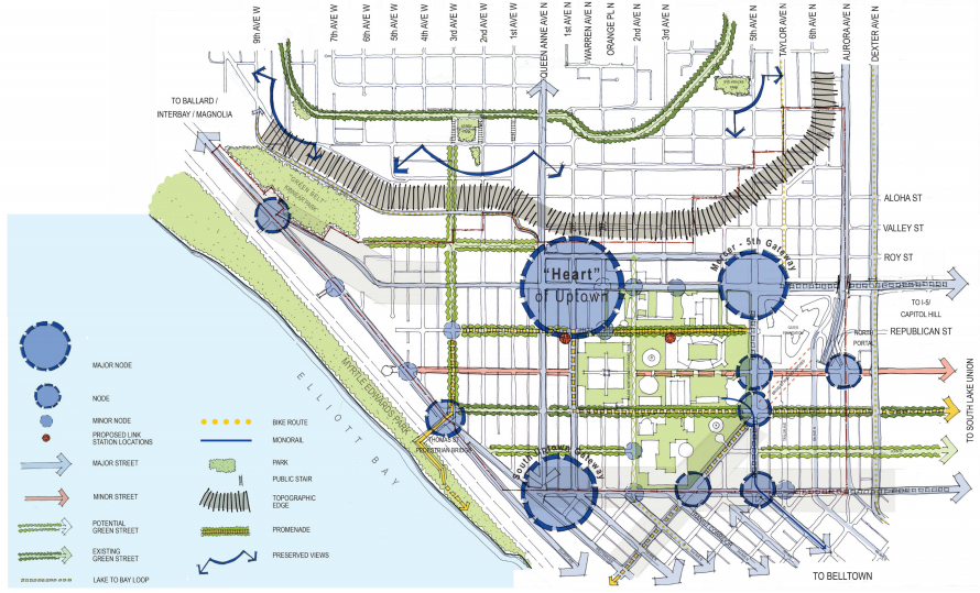 A sketch of activity nodes, gateways, view corridors, open space, and transportation. (City of Seattle)