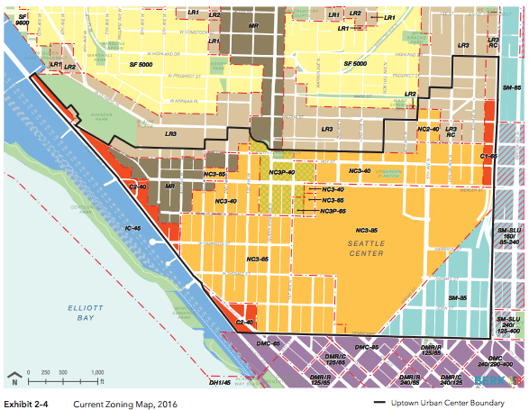 Zoning in and around Uptown in 2016. (BERK / 3SB / City of Seattle)