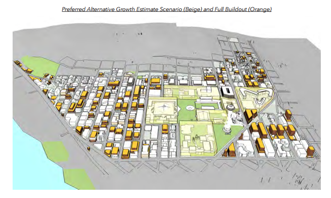 Bulk and scale of potential buildout under the Preferred Alternative. (Hewitt Architecture / City of Seattle)