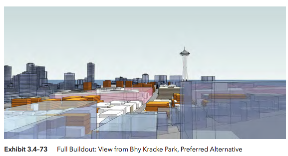View from Bye Kracke Park under the Preferred Alternative scenario. (Hewitt Architecture / City of Seattle)