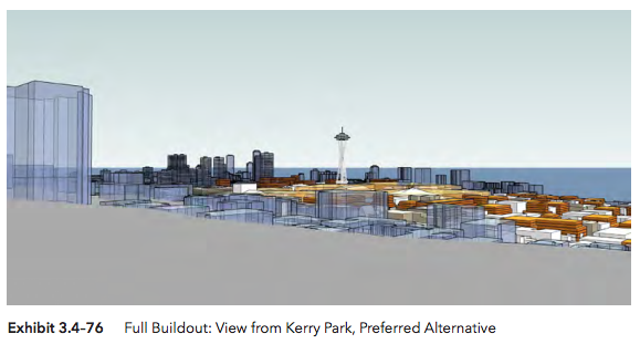 View from Kerry Park under the Preferred Alternative scenario. (Hewitt Architecture / City of Seattle)