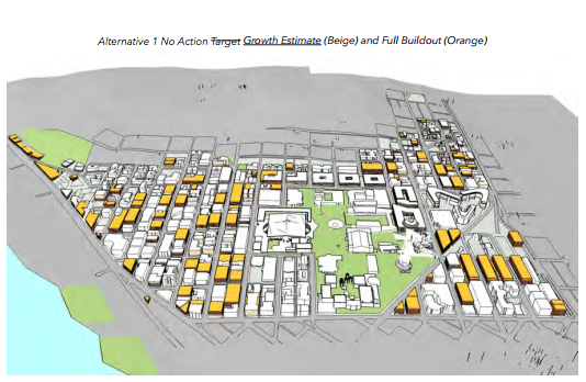 Bulk and scale of potential buildout under the No Action Alternative. (Hewitt Architecture / City of Seattle)