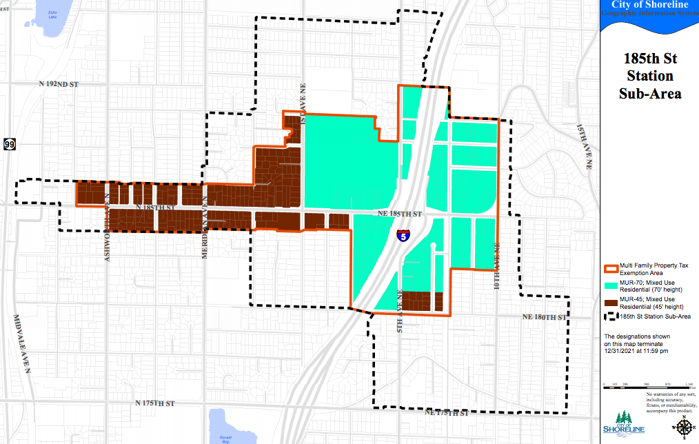 Map of the 185th Street Station area and the zones where MFTE proposals are permitted. (City of Shoreline)