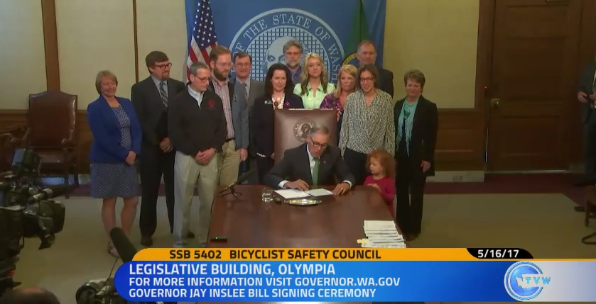 Bill signing of the new Bicycle Safety Advisory Council. (TVW)