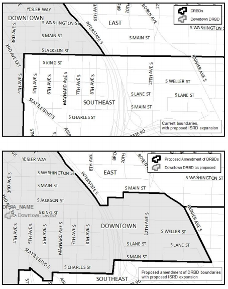 Comparison of existing design review board boundaries (top) and proposed boundaries (bottom). (City of Seattle)